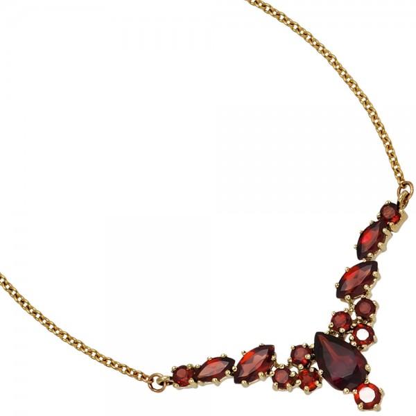 Collier Statement Halskette 333 Gold Gelbgold 14 Granate rot 42 cm Kette