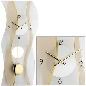 AMS7347 WanduhrQuarz mit Pendel modern geschwungen Pendeluhr mit Glas