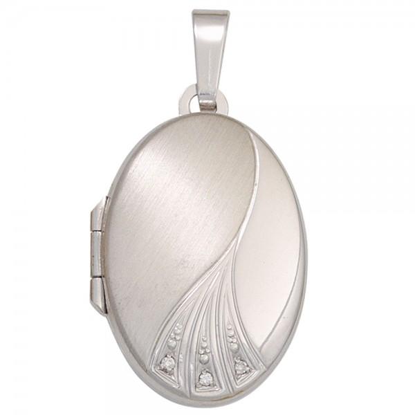 Medaillon oval 375 Gold Weißgold mattiert 3 Zirkonia Anhänger zum Öffnen
