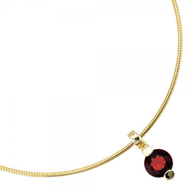 Anhänger rund 585 Gold Gelbgold 1 Granat rot Goldanhänger