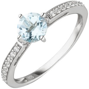Damen Ring 925 Sterling Silber 1 Blautopas 16 Zirkonia