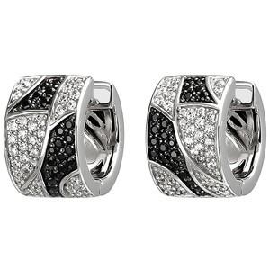 Creolen 925 Sterling Silber 114 Zirkonia schwarz und weiß Ohrringe