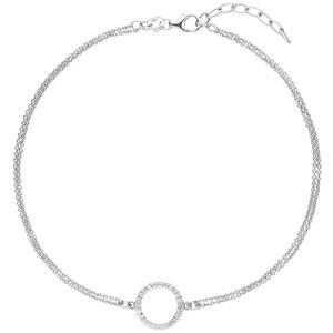 Fußkettchen Fußkette 925 Sterling Silber 24 Zirkonia 26 cm