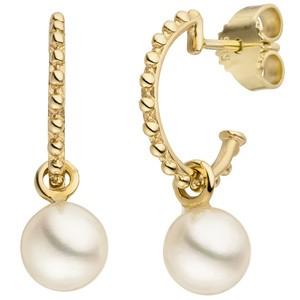 Halbcreolen 585 Gold Gelbgold 2 Süßwasser Perlen Ohrringe Creolen Perlenohrring