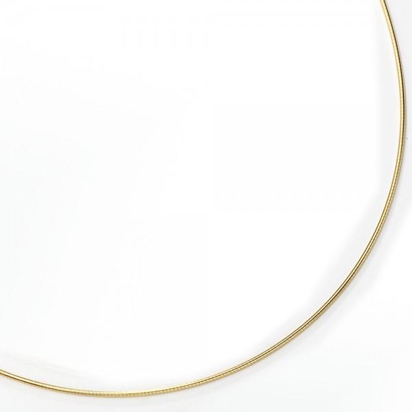 Halsreif 585 Gelbgold 1,1 mm 50 cm Gold Kette Halskette Goldhalsreif Karabiner