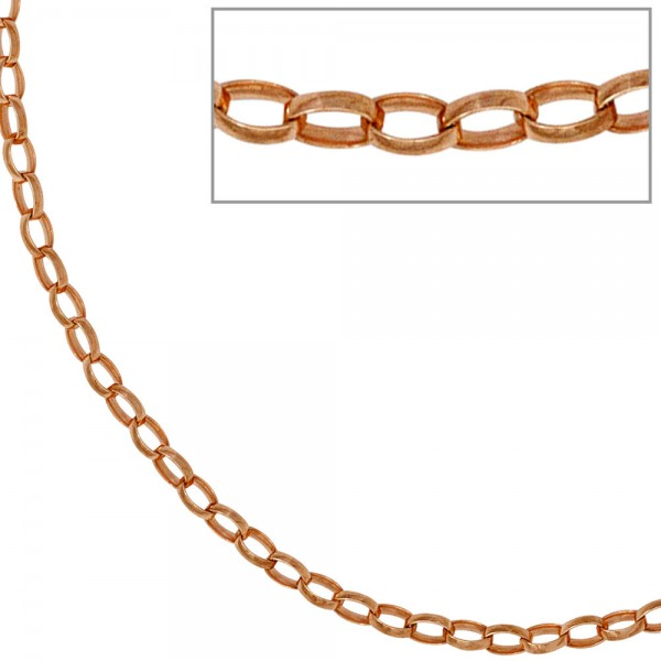 Ankerkette 925 Silber rotgold vergoldet 2,4 mm 45 cm Halskette Kette Karabiner
