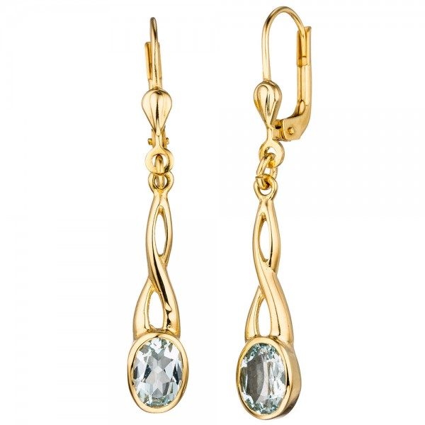 Boutons 585 Gold Gelbgold 2 Aquamarine helllbau blau Ohrringe Ohrhänger