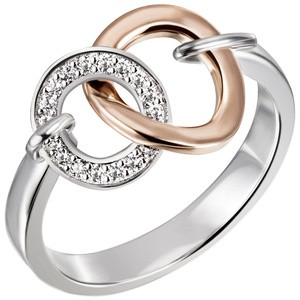 Damen Ring 925 Sterling Silber bicolor vergoldet 18 Zirkonia