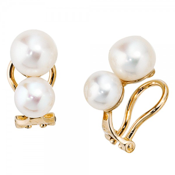 Ohrclips 585 Gold Gelbgold 4 Süßwasser Perlen Ohrringe Clips Perlenclips