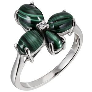 Damen Ring Blume 925 Sterling Silber 4 Malachit-Cabochons grün 1 Zirkonia