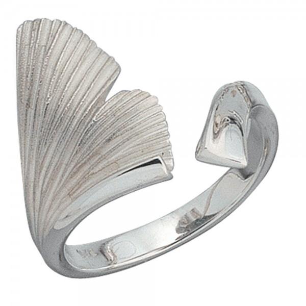 Damen Ring Ginko Gingko offen 925 Sterling Silber mattiert Handarbeit Silberring