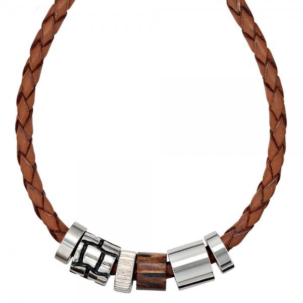 Collier Halskette Leder braun mit Edelstahl und Holz 45 cm Kette Lederkette