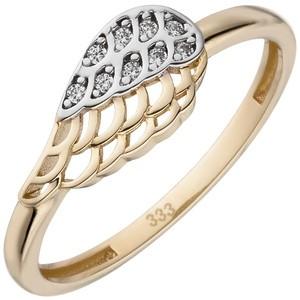 Damen Ring Flügel 333 Gold Gelbgold bicolor 9 Zirkonia Goldring