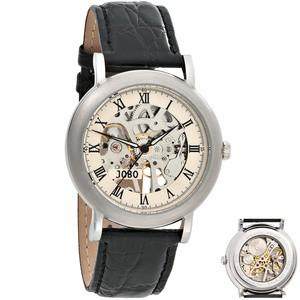 JOBO Herren Armbanduhr Handaufzug Skelett - Werk Glasboden