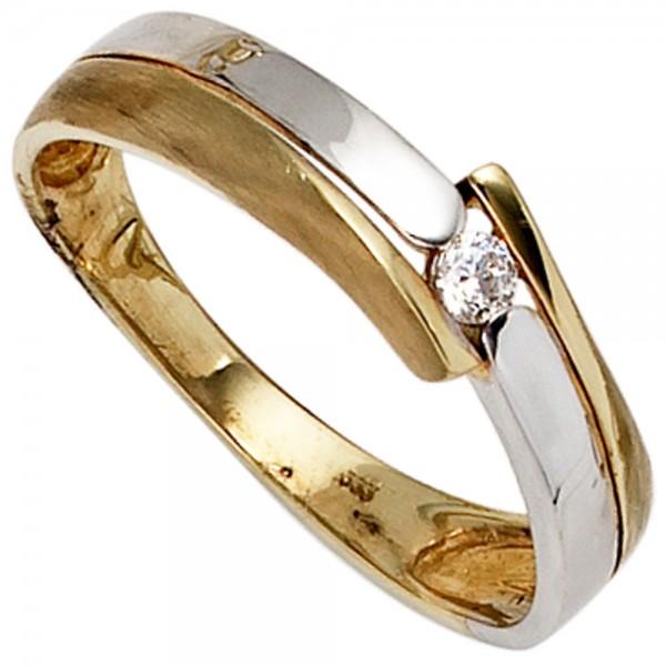 Damen Ring 333 Gold Gelbgold Weißgold mattiert 1 Zirkonia Goldring