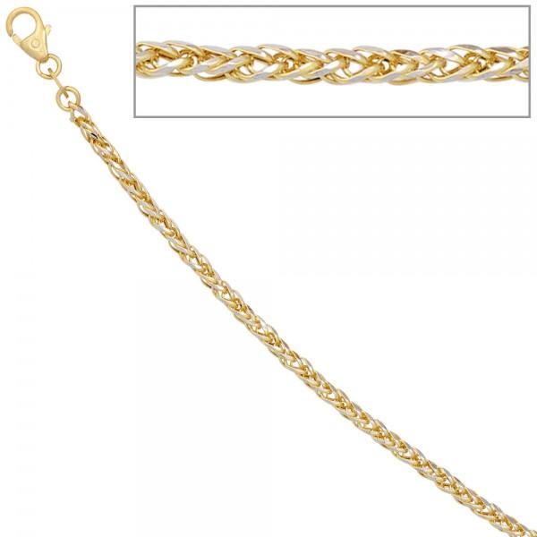Zopfkette 585 Gelbgold Weißgold bicolor 1,9 mm 45 cm Gold Kette Goldkette