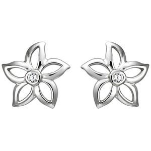 Ohrstecker Blume 925 Sterling Silber 2 Zirkonia Ohrringe Silberohrringe