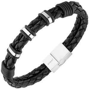 Herren Armband 2 - Reihig Leder schwarz mit Edelstahl 21 cm Herrenarmband