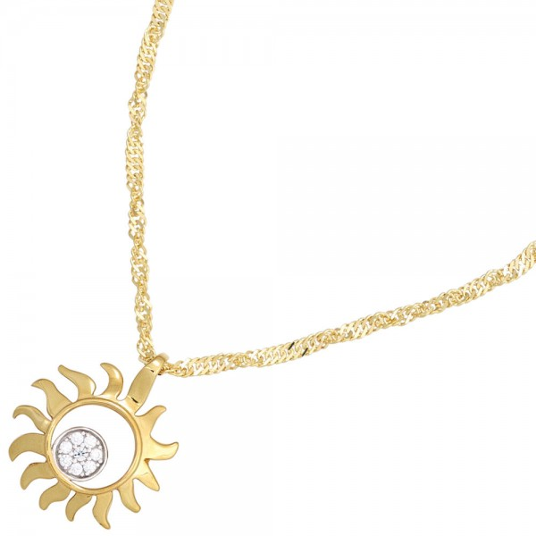 Anhänger Sonne 585 Gold Gelbgold bicolor 8 Diamanten Brillanten 0,07ct.