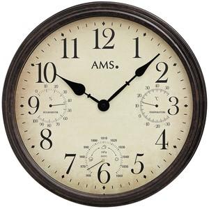 AMS9463Wanduhr Quarz analogrund antik retro mit Thermometer