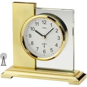 AMS5141 Tischuhr Funk golden eckig modern messingfarben mit Glas Funktischuhr