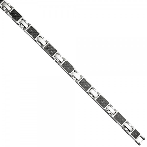 Armband aus Edelstahl mit Carbon kombiniert 20,5 cm