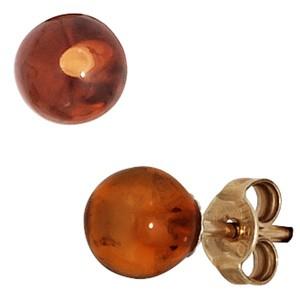 Ohrstecker 375 Gold Gelbgold 2 Bernsteine orange Ohrringe Bernsteinohrringe