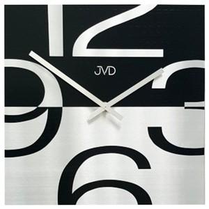 JVDHC24 Wanduhr Quarz Analog Schwarz Silber modern viereckig