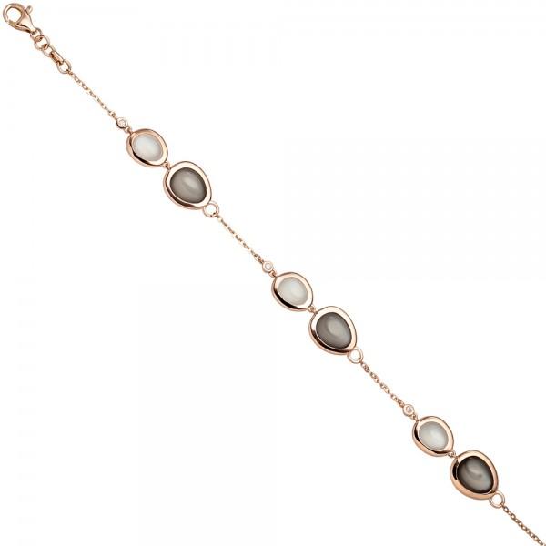 Armband 585 Gold Rotgold 4 Diamanten Brillanten 0,06ct. 8 Mondsteine 21 cm