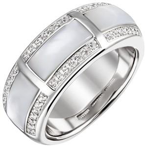 Damen Ring 925 Sterling Silber 42 Zirkonia 3 Perlmutt Einlagen Silberring