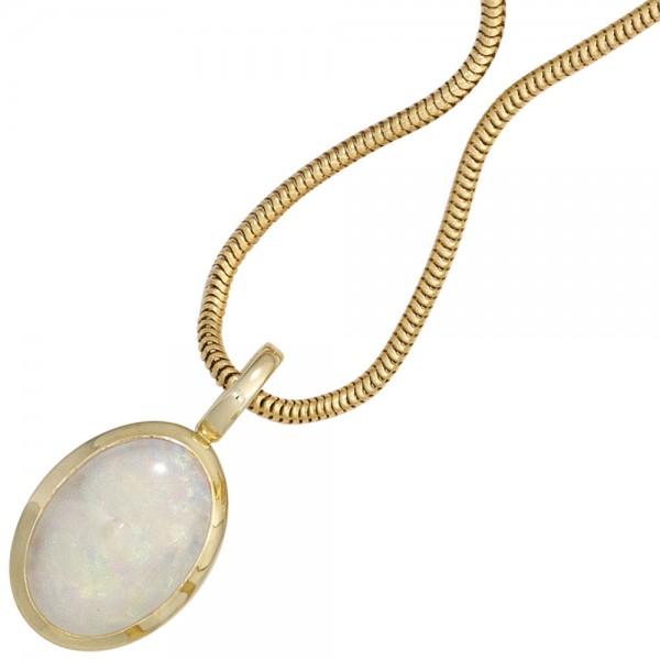 Anhänger oval 585 Gold Gelbgold 1 Opal Goldanhänger