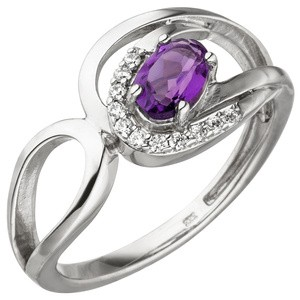 Dame Ring 333 Gold Weißgold 11 Zirkonia 1 Amethyst lila violett Weißgoldring