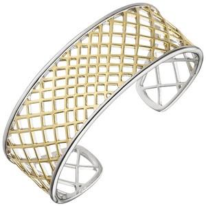Armspange/offener Armreif 925 Silber bicolor vergoldet Armband