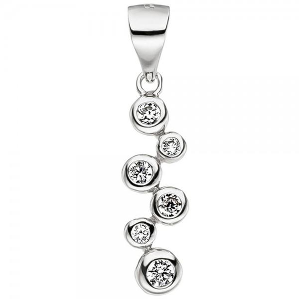 Anhänger 925 Sterling Silber 6 Zirkonia Silberanhänger Kettenanhänger
